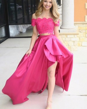 Red Two Piece Beading Off the Shoulder Prom Dress with Side Slit PM1417