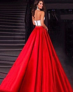 Simple White & Red Satin Halter Two Piece Prom Dress with Pockets PM1418