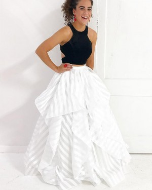 Black & White Strips Two Piece Ruffled Prom Dress PM1419