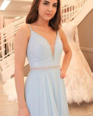 Long Sky Blue Beading Bodice Spaghetti Straps Tulle Prom Dress PM1420