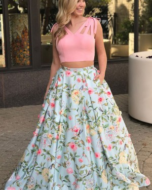 Two Piece Floral Print V-neck Cutout Prom Dress with Pockets PM1423