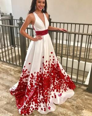 White & Red Satin Deep V-neck Prom Dress with Beading Belt PM1424