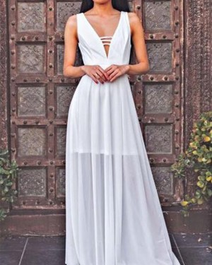 White Pleated Deep V-neck Tulle Cutout Prom Dress PM1426