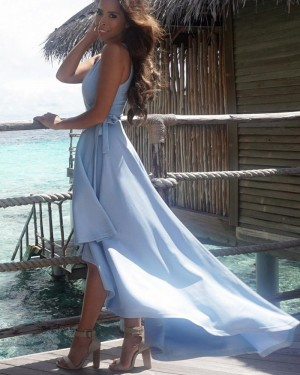 Simple High Low Satin V-neck Blue Pleated Prom Dress PM1431