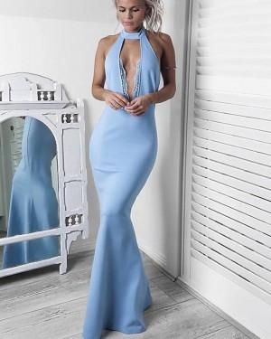 Sexy Light Blue Satin Halter Mermaid Formal Dress PM1432