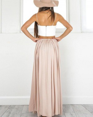 White & Blush Satin Two Piece Spaghetti Straps Prom Dress with Side Slit PM1433