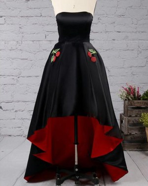 High Low Black and Red Strapless Pleated Prom Dress with Appliqued Pockets PM1434