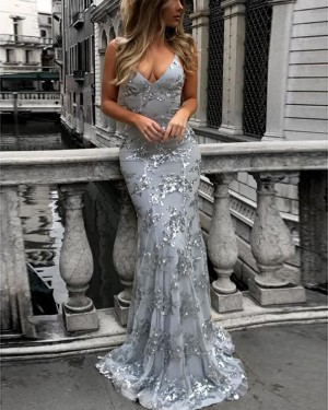Dusty Blue Spaghetti Straps Sequined Mermaid Prom Dress PM1435