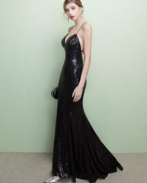 Black Sequined Spaghetti Straps Mermaid Evening Dress PM1436