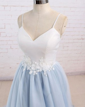 White & Blue Tulle Spaghetti Straps Prom Dress with Appliques PM1437