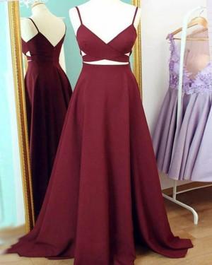 Simple Long Burgundy Cutout Spaghetti Straps Prom Dress PM1438