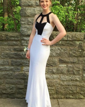 Simple Black & White Cutout High Neck Satin Mermaid Prom Dress PM1440