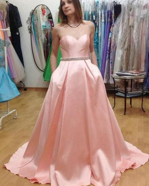 Sweetheart Long Pink Satin Prom Dress with Pockets PM1442