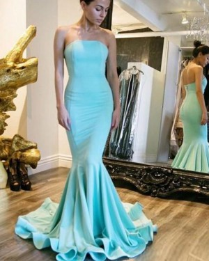 Simple Satin Cyan Strapless Mermaid Style Prom Dress PM1445
