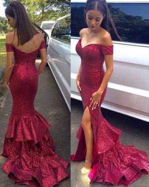 Off the Shoulder Red Mermaid Sequined Prom Dress with Side Slit PM1447