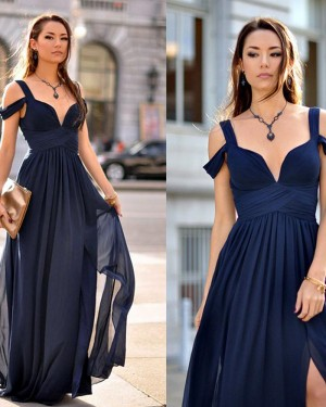 Cold Shoulder Navy Blue Chiffon Pleated Formal Dress PM1448