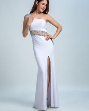 White One Shoulder Chiffon Sheath Beading Prom Dress with Side Slit PM1449
