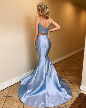 Light Blue Two Piece Scoop Neck Satin Mermaid Prom Dress PM1801