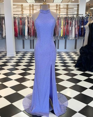 High Neck Fish Net Lace Blue Mermaid Prom Dress with Side Slit PM1802