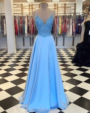 Cyan Spaghetti Straps Lace Bodice Satin Prom Dress with Slit PM1803