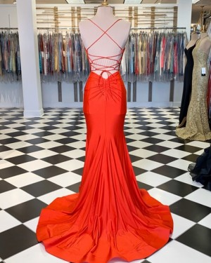 Simple Orange Spaghetti Straps Satin Mermaid Prom Dress PM1806