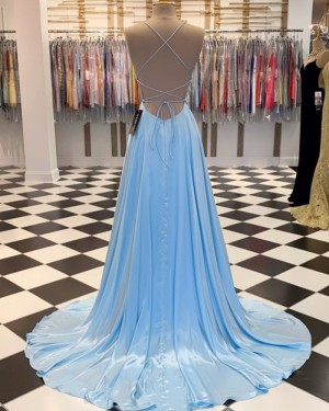 Simple Spaghetti Straps Light Blue Satin A-line Prom Dress PM1807