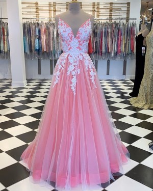 Peach Spaghetti Straps Tulle Pleated Prom Dress with Lace Applique PM1808