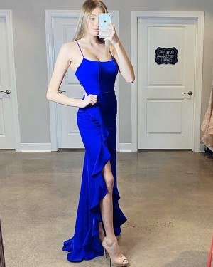 Royal Blue Spaghetti Straps Mermaid Prom Dress with Slit PM1811