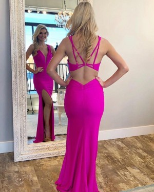 Simple Fuchsia V-neck Satin Mermaid Prom Dress with Side Slit PM1814