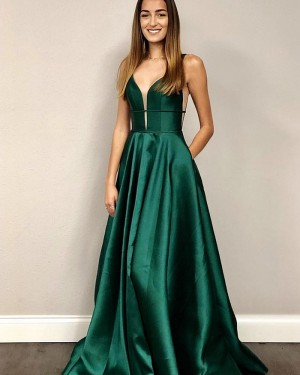 Simple Green V-neck Satin Prom Dress with Pockets PM1815