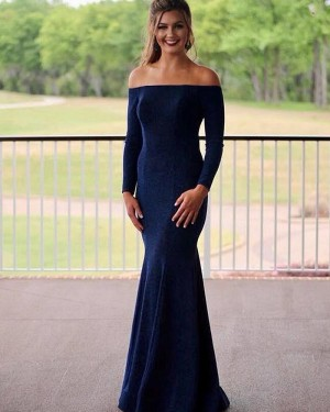 Simple Off the Shoulder Navy Blue Mermaid Prom Dress with Long Sleeves PM1819