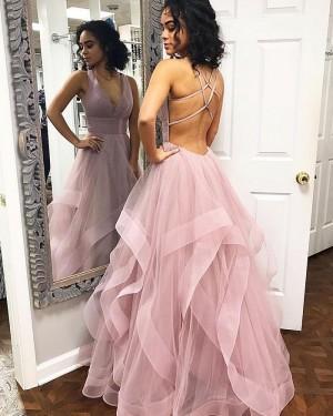 Simple Light Purple V-neck Ruffled Tulle Prom Dress PM1821