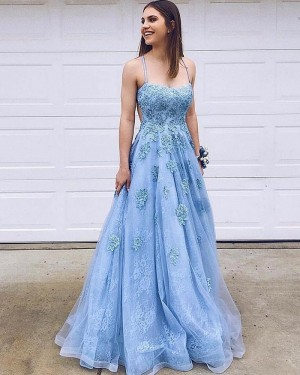 Sky Blue Spaghetti Straps Lace Applique A-line Prom Dress PM1822