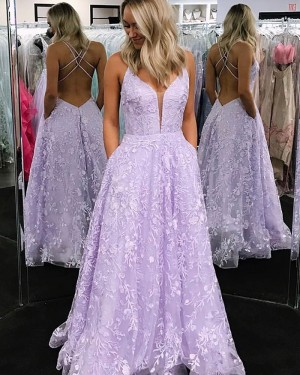 V-neck Lace Lavender Prom Dress with Pocket PM1824