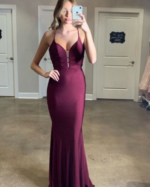 Simple Burgundy Spaghetti Straps Mermaid Satin Prom Dress PM1826