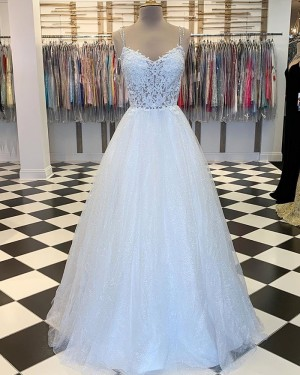 Lace Bodice White Spaghetti Straps Prom Dress with Sparkle Skirt PM1827