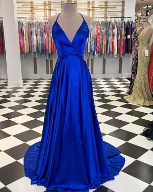 Simple Blue Satin Halter A-line Long Prom Dress with Slit PM1830