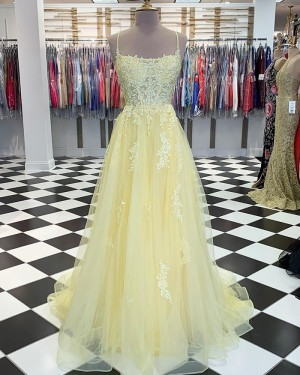 Light Yellow Spaghetti Strap Appliqued Tulle Prom Dress PM1832