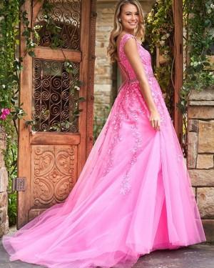 Blush Pink Jewel Neck Lace Appliqued A-line Prom Dress PM1834