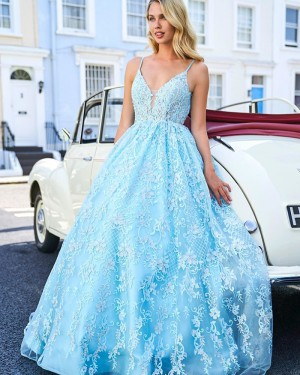 Beading Lace Spaghetti Straps Cyan Ball Gown Prom Dress PM1837