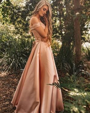 Nude Lace Bodice V-neck Satin Prom Dress PM1839