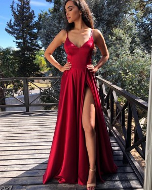 Simple Red Spaghetti Straps Pleated Prom Dress with Side Slit PM1843