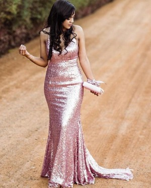 Rose Gold Spaghetti Straps Sequin Mermaid Prom Dress PM1845