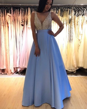 V-neck Sky Blue Beading Bodice Pleated Prom Dress PM1846
