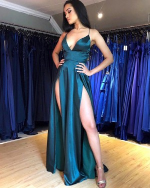 Sexy Teal Spaghetti Straps Satin Prom Dress with Side Slits PM1847
