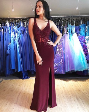 Burgundy V-neck Lace Bodice Mermaid Prom Dress with Side Slit PM1851