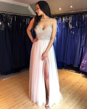 White Spaghetti Straps Beading Bodice Pleated Tulle Prom Dress with Side Slit PM1852
