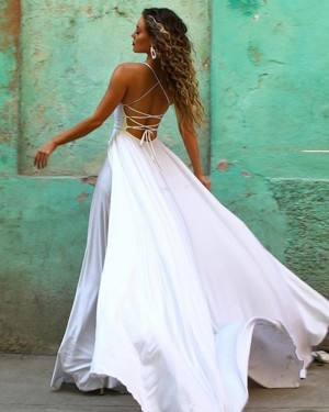 White Spaghetti Strap Lace Bodice Chiffon Prom Dress with Side Slit PM1854