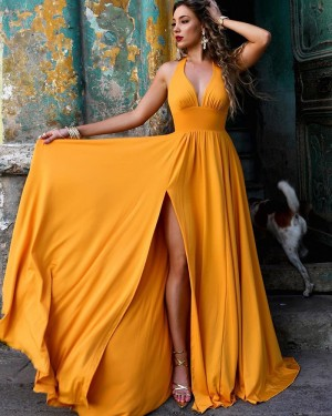 Simple Daffodil Halter Ruched Satin Prom Dress with Side Slit PM1856