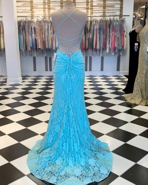 Cyan Spaghetti Strap Lace Mermaid Prom Dress PM1857